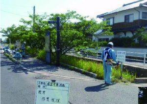 道路愛護活動での除草作業